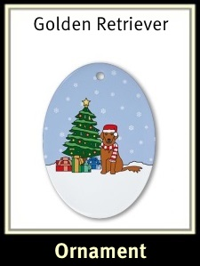 Red Golden Retriever Christmas Ornament