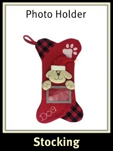 Dog Christmas Stocking with Photo Holder