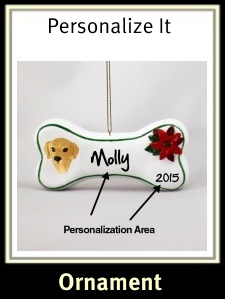 Golden Retriever Personalized Dog Bone Ornament