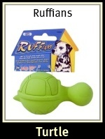 JW Ruffians Turtle Rubber Dog Toy