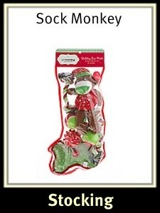 pet holiday sock monkey stocking - Pre Filled Christmas Stockings
