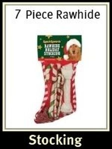 7 piece rawhide holiday stocking dog treats - Pre Filled Christmas Stockings