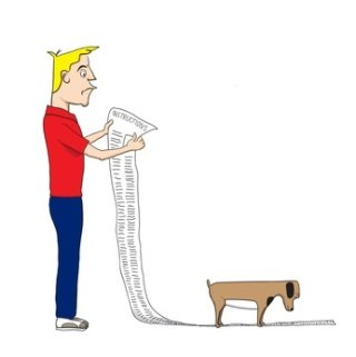 man reading a long list of rules on dogs